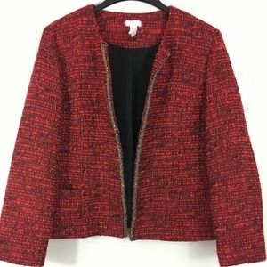 Chico's Tweed Blazer 3 Womens 16 Career Jacket Red